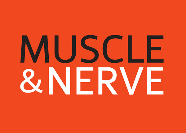 gray and white wordmark on red background for Muscle & Nerve publication